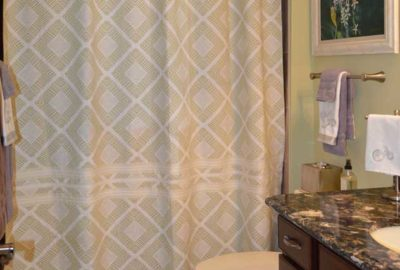 First Bathroom, Shower Curtain has been Elongated.