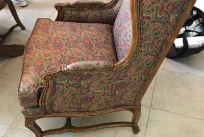 Before, of the Wingback recovered to use in Living-Room.
