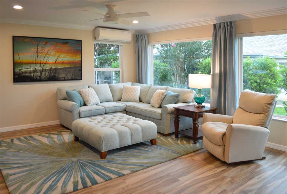 Gardenia-Lanai with remote controlled honey comb blinds.