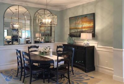Bright  Blue and Light - Dining Room of an Ivy model - in the Villages of Florida.