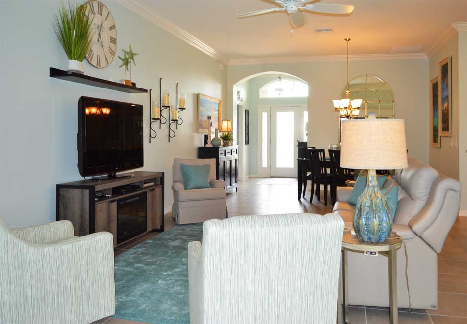 After, Lily model living room is Light and Bright - Interior Design - in the Villages of Florida.