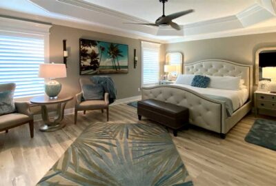 Master bedroom of an expanded Gardenia model - Interior Design - in the Villages of Florida.