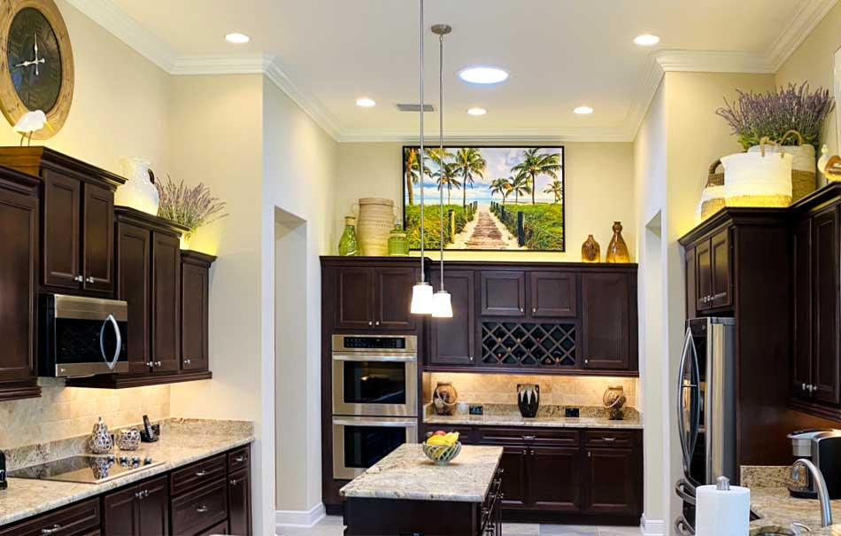 After Image of St. Charles model looks Dramatic and Interesting! Home Décor by Ruth Dyer.