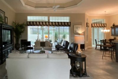 Before, Heavy dark Cornices make the space dark - Interior Design - in the Villages of Florida.