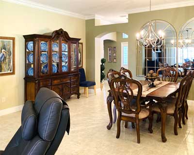 After Image of Dining room - Lantana Model, Interior Design - Villages of Florida.