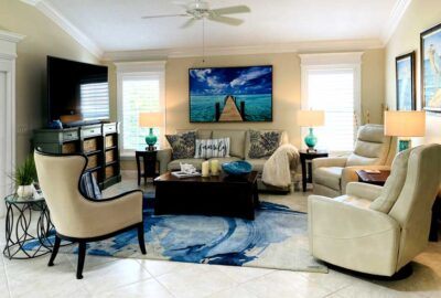 Crown Molding, Shutters and Slider trimmed out in molding - Home Décor by Ruth Dyer - in the Villages of Florida