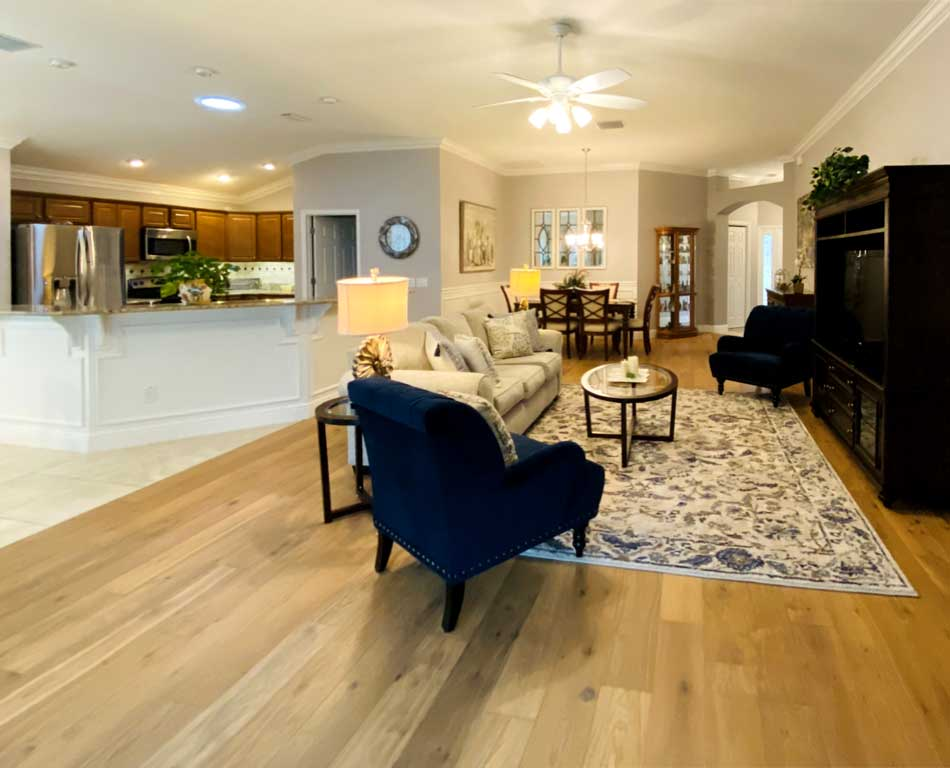 Large area of tile and hardwood with no threshold - Home Décor by Ruth Dyer - in the Villages of Florida.