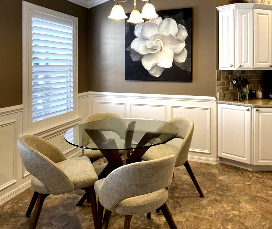 Wainscot, Shutters and white Kitchen - Home Décor by Ruth Dyer - in the Villages of Florida.