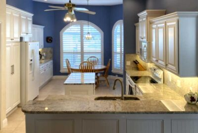 White Kitchen, Granite and Wainscot - Home Décor by Ruth Dyer - in the Villages of Florida