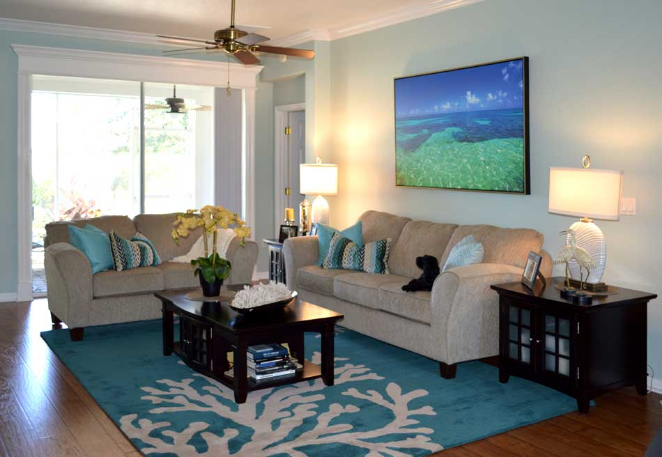Before with the old couches - Interior Design - in the Villages of Florida.