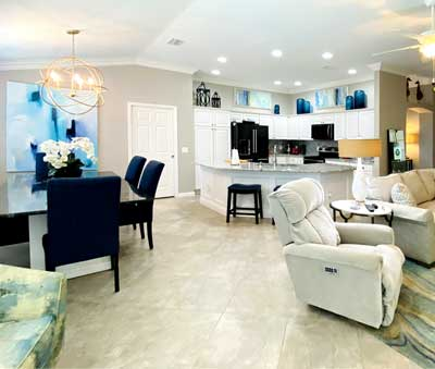Monticello Villa kitchen and dining room - Interior Design - in the Villages of Florida.