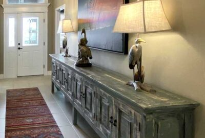 Gardenia Foyer with long table - Interior Design - in the Villages of Florida.