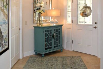 Iris foyer with small teal table - Interior Design - Home Décor by Ruth Dyer.