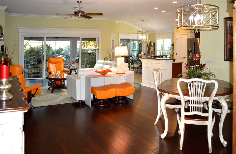 After with all the windows looking finished and highlighted in white trim - Home Décor by Ruth Dyer - in the Villages of Florida.
