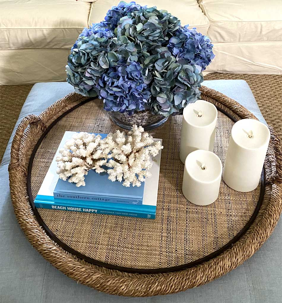 Lots of Hydrangea in glass with shells - Interior Design - in the Villages of Florida.