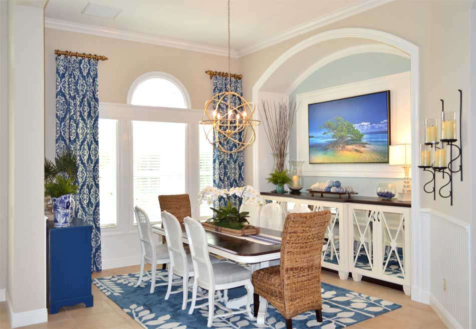 Side panels hung high and window molding - Interior Design - in the Villages of Florida.