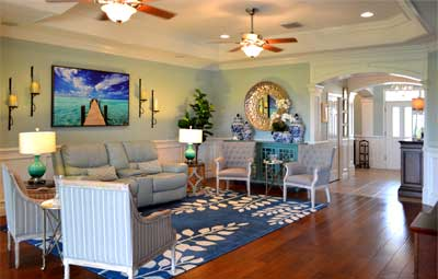 Coffers and the lighting really show off the Ceiling - Home Décor by Ruth Dyer - in the Villages of Florida.
