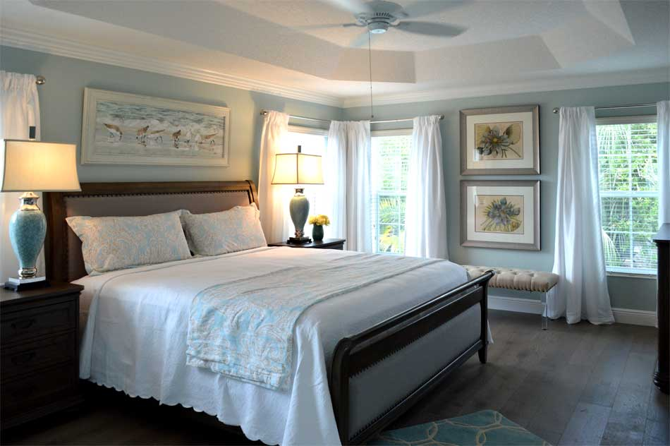 Coastal Cool Master Bedroom, Iris model - Home Décor by Ruth Dyer - in the Villages of Florida.